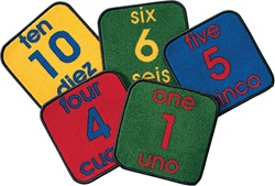Bilingual Number Squares - Square - Set of 10 - CFK1620 - Carpets for Kids