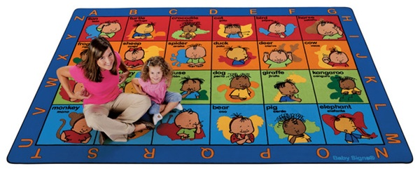 American Sign Language Seating Rug By Baby Signs Rectangle