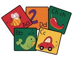 Spanish Alphabet Blocks Kit - Square - Set of 30 - Carpets for Kids