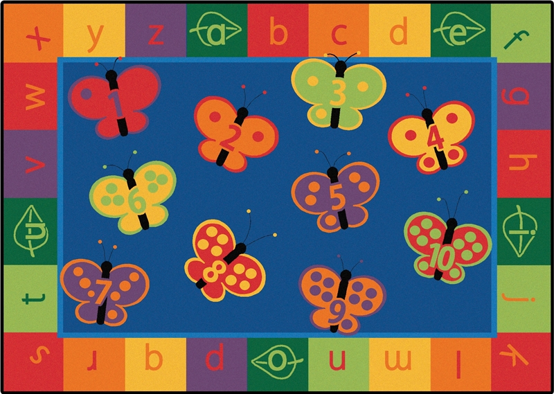Kidsoft 123 Abc Butterfly Fun Classroom Rug Cfk35xx