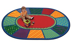 "Playful Patterns Infant Rug - Oval - 5'5"" x 7'8"" - CFK3905 - Carpets for Kids"