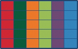 "Colorful Rows Seating Rug (Seats 30) - Rectangle - 8'4"" x 13'4"" - CFK4034 - Carpets for Kids"