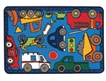 Wheels on the Go Rug - Rectangle - 4' x 6' - CFK4862 - Carpets for Kids