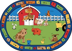 "Alphabet Farm Rug - Oval - 6'9"" x 9'5"" - CFK5206 - Carpets for Kids"