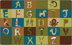 "A to Z Animals Rug - Nature - Rectangle - 7'6"" x 12' - CFK55762 - Carpets for Kids"