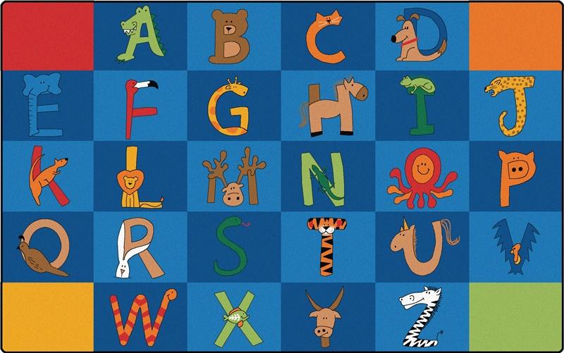 A To Z Animals Rug Carpets For Kids Alphabet Amp Animal Rug
