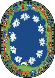 "Choo-Choo Literacy Rug - Oval - 6'9"" x 9'5"" - CFK6006 - Carpets for Kids"