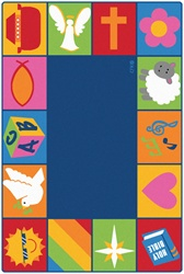 Infant Toddler Bible Blocks Rug - Rectangle - 4' x 6' - CFK73001 - Carpets for Kids