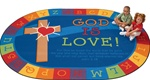 "God is Love Learning Rug - Oval - 6'9"" x 9'5"" - CFK83006 - Carpets for Kids"