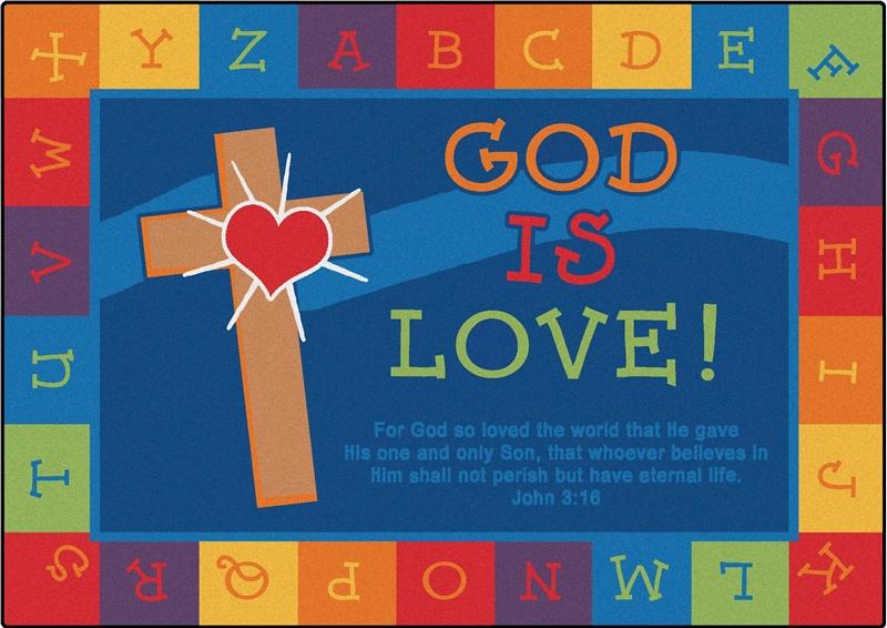 God Is Love Learning Rug Carpets For Kids Scripture Area Rug