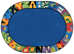 "Hide n Seek ABC Rug - Oval - 6'9"" x 9'5"" - CFK9706 - Carpets for Kids"