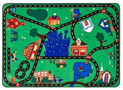 Cruisin Around the Town Rug Factory Second - Rectangle - 8' x 12' - CFKFS1017 - Carpets for Kids