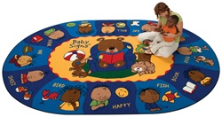 "Sign, Say & Play Rug Factory Second - Oval - 6'9"" x 9'5"" - CFKFS1706 - Carpets for Kids"