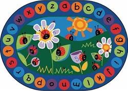 "Ladybug Circletime Rug Factory Second - Oval - 8'3"" x 11'8"" - CFKFS2008 - Carpets for Kids"