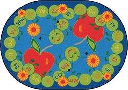"ABC Caterpillar Rug Factory Second - Oval - 6'9"" x 9'5"" - CFKFS2295 - Carpets for Kids"