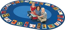 "Reading by the Book Seating Rug Factory Second - Oval - 6'9"" x 9'5"" - CFKFS2695 - Carpets for Kids"
