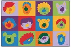 Friendly Faces Toddler Rug Factory Second - Rectangle - 6' x 9' - CFK2700 - Carpets for Kids