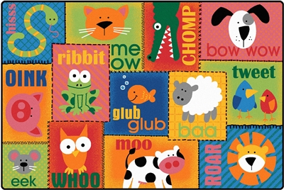 Animal Sounds Toddler Rug Factory Second - Rectangle - 4' x 6' - CFKFS2901 - Carpets for Kids