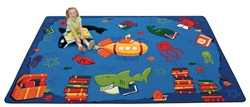 "Dive into Reading Rug Factory Second - Rectangle - 3'10"" x 5'5"" - CFKFS3313 - Carpets for Kids"