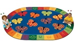 123 ABC Butterfly Fun Rug Factory Second - Oval - 5'5
