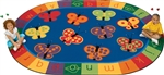 123 ABC Butterfly Fun Rug Factory Second - Oval - 6'9
