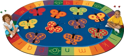 "123 ABC Butterfly Fun Rug Factory Second - Oval - 6'9"" x 9'5"" - CFKFS3506 - Carpets for Kids"