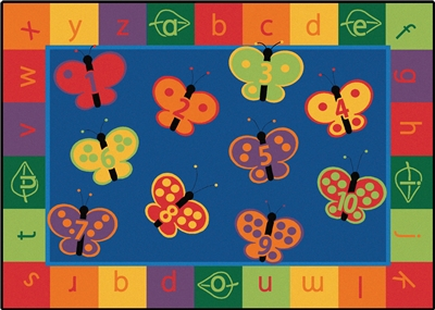 123 ABC Butterfly Fun Rug Factory Second - Rectangle - 8' x 12' - CFK3517 - Carpets for Kids