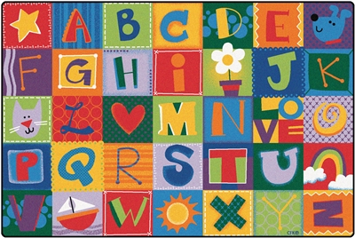 Toddler Alphabet Blocks Rug Factory Second - Rectangle - 8' x 12' - CFKFS3802 - Carpets for Kids