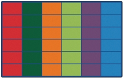 "Colorful Rows Seating Rug Factory Second (Seats 36) - Rectangle - 8'4"" x 13'4"" - CFKFS4634 - Carpets for Kids"