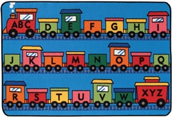 Alphabet Train Rug Factory Second - Rectangle - 4' x 6' - CFKFS4815 - Carpets for Kids