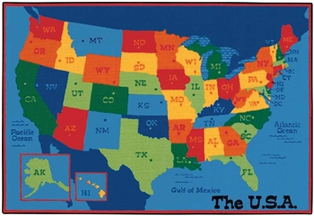 USA Map Value Rug Factory Second - Rectangle - 4' x 6' - CFKFS4895- Carpets for Kids