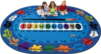 "Bilingual Paint by Numero Rug Factory Second - Oval - 5'5"" x 7'8"" - CFKFS5305 - Carpets for Kids"
