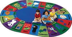 "Dewey Decimal Fun Rug Factory Second - Oval - 6'9"" x 9'5"" - CFKFS5795 - Carpets for Kids"