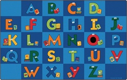 "Reading Letters Library Rug Factory Second - Rectangle - 7'6"" x 12' - CFKFS6212 - Carpets for Kids"