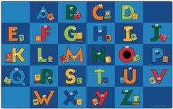 "Reading Letters Library Rug Factory Second - Rectangle - 8'4"" x 13'4"" - CFKFS6234 - Carpets for Kids"