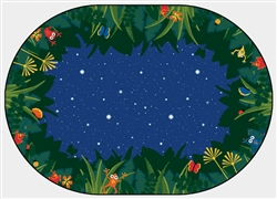 "Peaceful Tropical Night Rug Factory Second- Oval - 7'8"" x 10'10"" - CFKFS6507 - Carpets for Kids"
