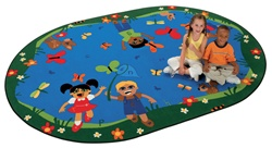 "Chasing Butterflies Alphabet Rug Factory Second - Oval - 7'8"" x 10'10"" - CFKFS6717 - Carpets for Kids"