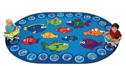 "Fishing for Literacy Rug Factory Second - Oval - 7'8"" x 10'10"" - CFKFS6807 - Carpets for Kids"