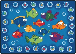 "Fishing for Literacy Rug Factory Second - Rectangle - 5'5"" x 7'8"" - CFKFS6815 - Carpets for Kids"