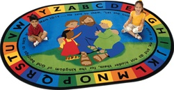 "Jesus Loves the Little Children Rug Factory Second - Oval - 5'5"" x 7'8"" - CFKFS72005 - Carpets for Kids"
