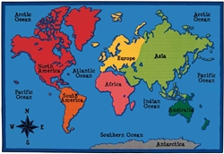 World Map Value PLUS Rug Factory Second - Rectangle - 6' x 9' - CFKFS7286 - Carpets for Kids