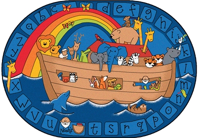 "Alphabet Noah Rug Factory Second - Oval - 5'5"" x 7'8"" - CFKFS74005 - Carpets for Kids"