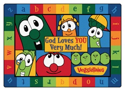 "God Loves You Very Much VeggieTales Rug Factory Second - Rectangle - 5'5"" x 7'8"" - CFKFS77115 - Carpets for Kids"