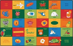 "Bilingual Alphabet Blocks Rug Factory Second - Rectangle - 7'6"" x 12' - CFKFS8012 - Carpets for Kids"