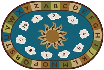 Sunny Day Learn & Play Rug Factory Second - Nature - Oval - 8' x 12' - CFKFS94708 - Carpets for Kids