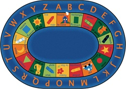 "Bilingual Circletime Rug Factory Second - Oval - 8'3"" x 11'8"" - CFKFS9508 - Carpets for Kids"