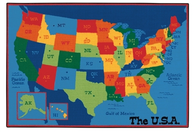 USA Map Value Rug Factory Second - Rectangle - 8' x 12' - CFKFS9695 - Carpets for Kids