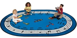 "Musical Rug Factory Second - Oval - 6'9"" x 9'5"" - CFKFS9995 - Carpets for Kids"