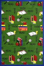 "Bookworm Rug - Green - Rectangle - 5'4"" x 7'8"" - JC1419C02 - Joy Carpets"