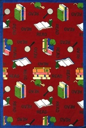 "Bookworm Rug - Red - Oval - 5'4"" x 7'8"" - JC1419CC03 - Joy Carpets"